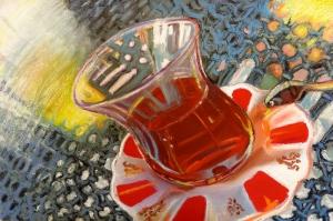 Çay Bardağı Yağlı Boya Sanat Kanvas Tablo