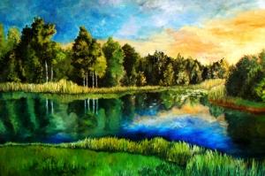 Cennetten Bir Köşe, Orman, Irmak, Doğa Manzarası Temalı Kanvas Tablo