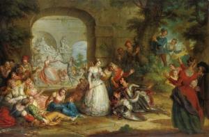 Charles Antoine Coybel Saray Bahçesi Yağlı Boya Klasik Sanat Canvas Tablo