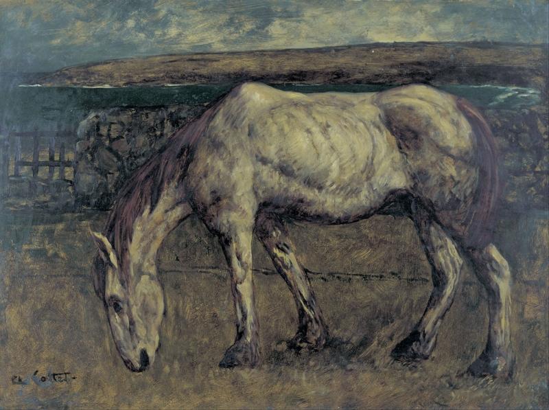 Charles Cottet Yaşlı At Yağlı Boya Klasik Sanat Canvas Tablo