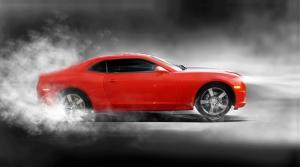 Chevrolet Camaro Kırmızı Spor Otomobil Hız ve Duman Kanvas Tablo