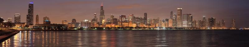 Chicago Gece Manzarası Panaromik Kanvas Tablo