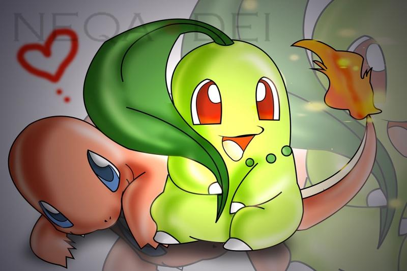 Chikorita x Charmander 5 Pokemon Karakterleri Kanvas Tablo