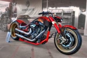 Chopper Modifiyeli Motorsiklet Kırmızı Kanvas Tablo