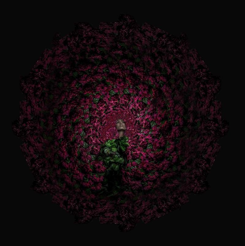 Çiçek Girdabı ve Kadın Floral Sanat Kanvas Tablo