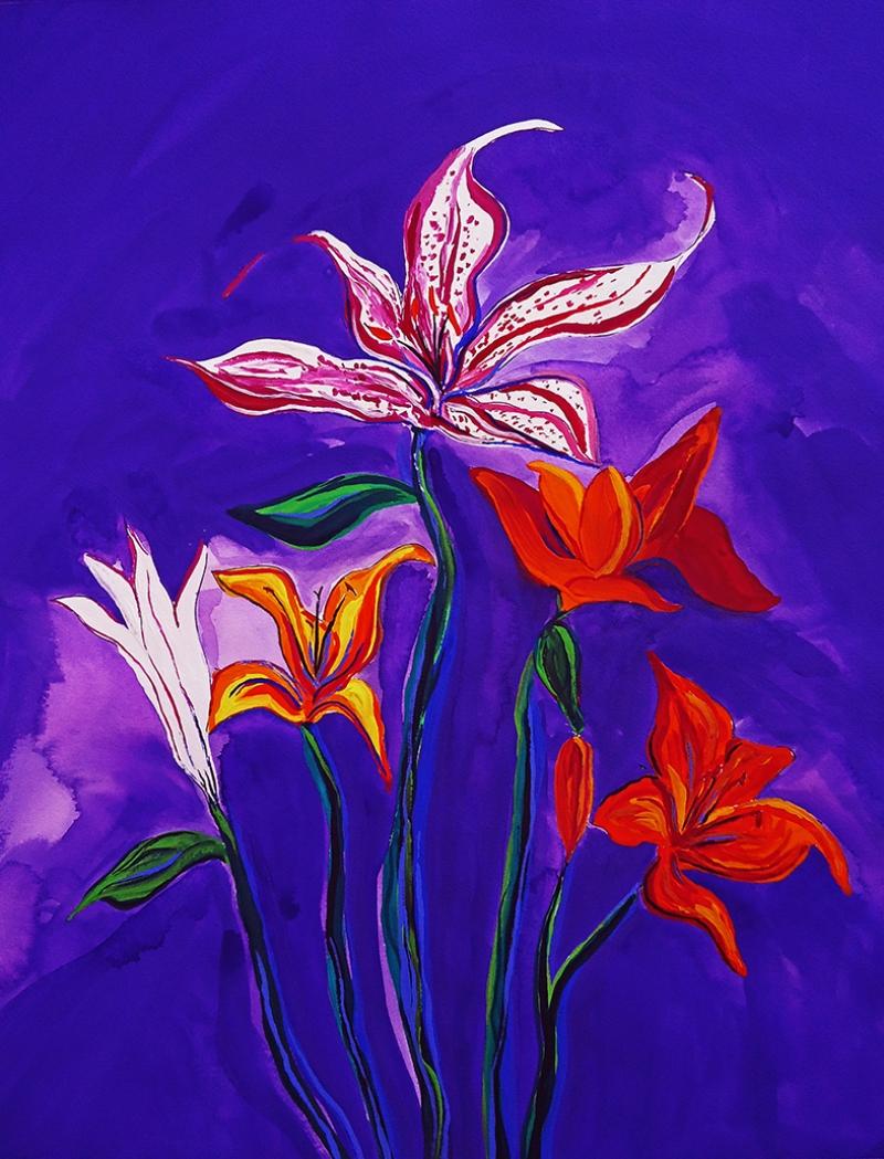 Çiçek Kanvas Painting Yağlı Boya Sanat Kanvas Tablo