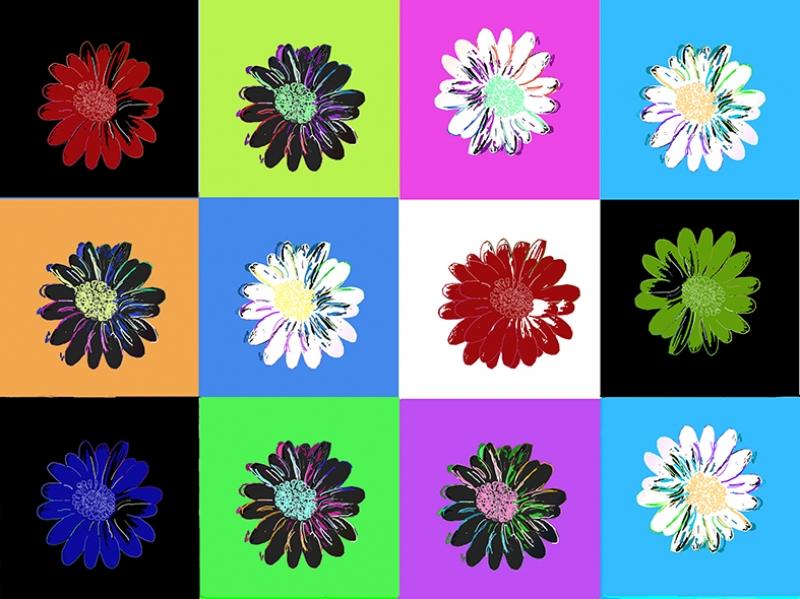 Çiçek Pop Art Yağlı Boya Sanat Kanvas Tablo