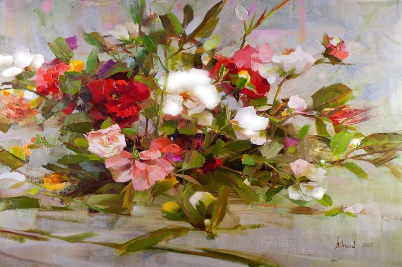 Cicek Sepeti 1 Renkli Çiçekler Yağlı Boya Sanat Kanvas Tablo