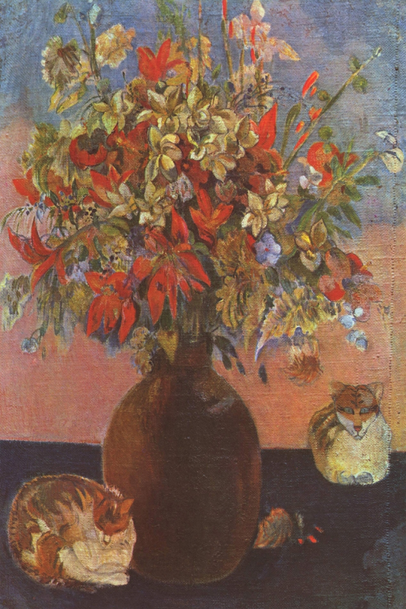 Çiçek Ve Kediler Naturmort Paul Gauguin Reproduksiyon Kanvas Tablo