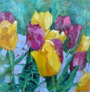 Çiçekler 1  Sarı, Mor Laleler İç Mekan Dekoratif Kanvas Tablo