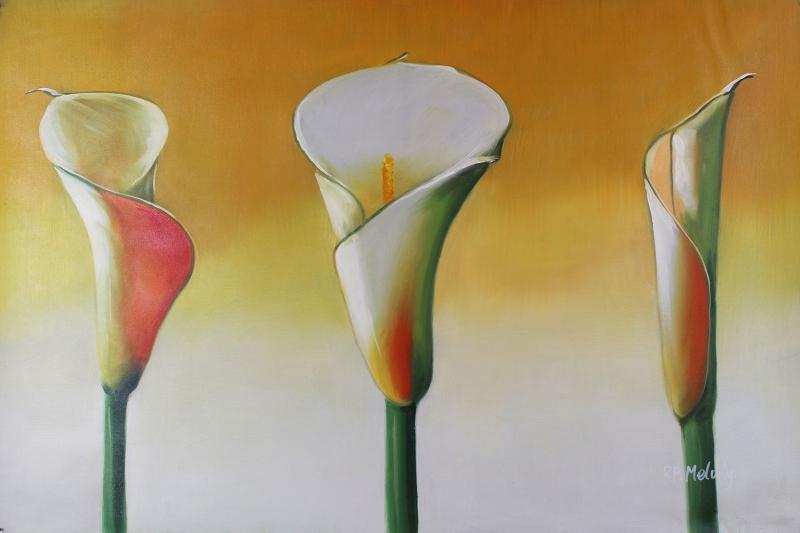 Çiçekler 11 Beyaz Laleler Yağlı Boya Sanat Kanvas Tablo