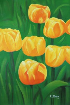 Çiçekler 12 Beyaz Sarı Laleler Yağlı Boya Sanat Kanvas Tablo