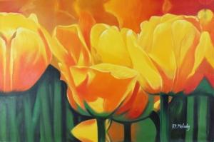 Çiçekler 14 Sarı Mor Laleler Yağlı Boya Sanat Kanvas Tablo