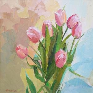 Çiçekler 15, Pempe, Laleler İç Mekan Dekoratif Kanvas Tablo