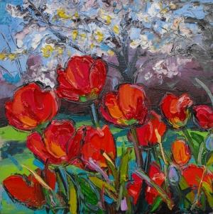 Çiçekler 2, Kırmızı Laleler İç Mekan Dekoratif Kanvas Tablo
