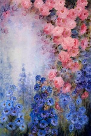 Çiçekler 2, Pembe Güller Yağlı Boya Modern Dekoratif Kanvas Tablo