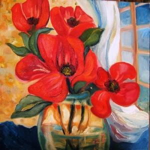 Çiçekler 3, Kırmızı Laleler İç Mekan Dekoratif Kanvas Tablo