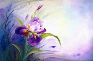 Çiçekler 3 Mor Çiçekler Soyut Yağlı Boya Abstract Tablo