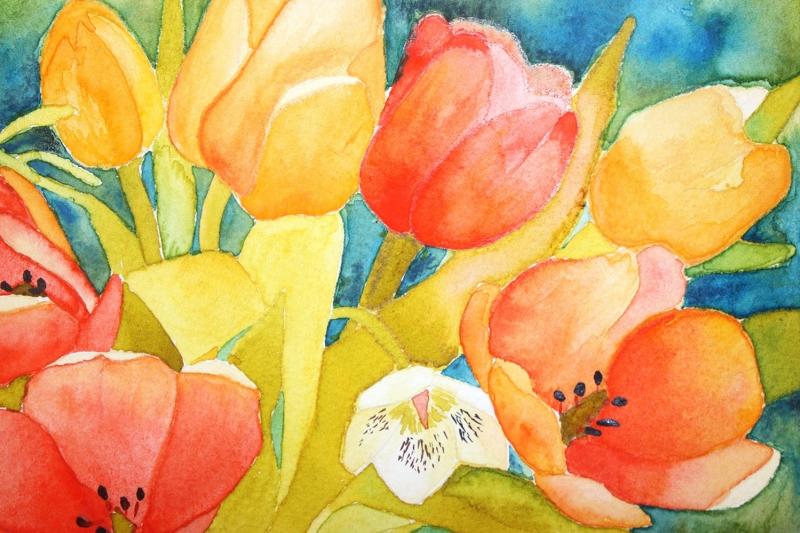 Çiçekler 7 Kırmızı Sarı Laleler Yağlı Boya Sanat Kanvas Tablo