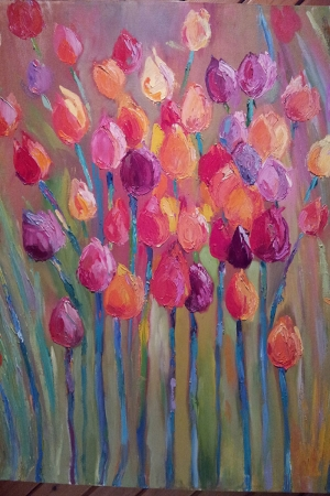 Çiçekler 9 Sarı Mor Laleler Yağlı Boya Sanat Kanvas Tablo