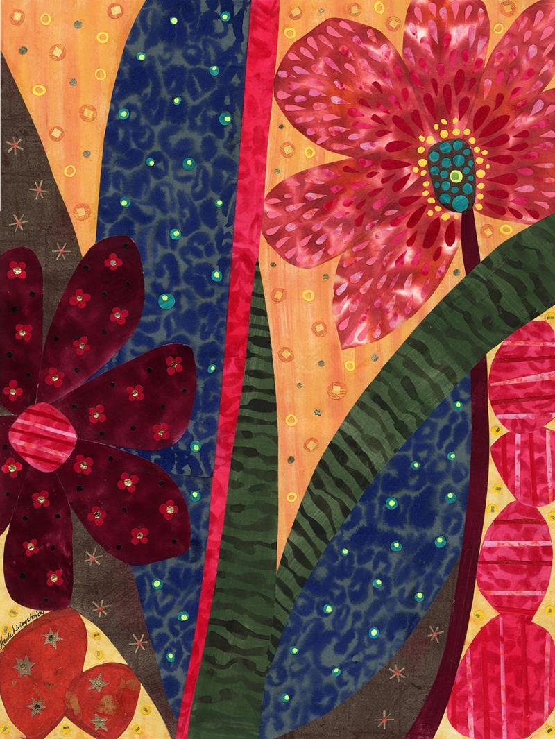 Çiçekler Kolaj 2 Sanat Kanvas Tablo