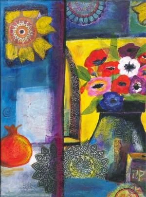 Çiçekler Kolaj Kompozisyon Yağlı Boya Sanat Kanvas Tablo