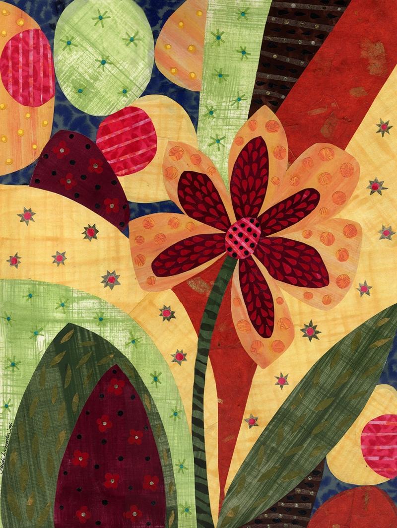 Çiçekler Kolaj Sanat Kanvas Tablo