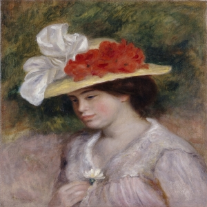 Çiçekli Şapkalı Kadın, Pierre August Renoir Woman in A Flowered Hat Klasik Sanat Kanvas Tablo