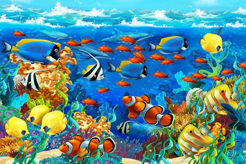 Çiklit Balıkları-2 Çocuk Odası Kanvas Tablo