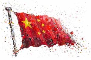Çin Bayrağı Mozaik İllustrasyon Kanvas Tablo