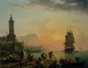 Claude Joseph Vernet Akdeniz Limanında Sakinlik Klasik Sanat Kanvas Tablo