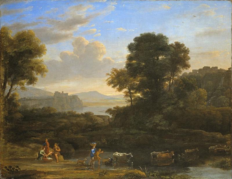 Claude Lorrain Köyün Kıyısı Doğa Manzarası Klasik Sanat Kanvas Tablo