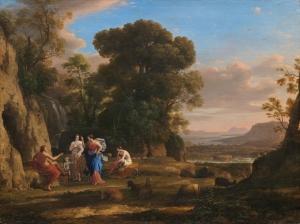 Claude Lorrain Paris'in Adeleti Doğa Manzarası Klasik Sanat Kanvas Tablo
