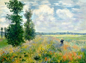 Claude Monet Poppy Field Argenteuil Yağlı Boya Sanat Kanvas Tablo