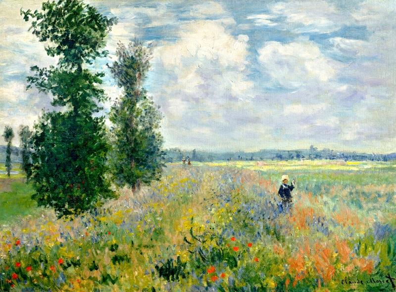 Claude Monet Poppy Field Argenteuil Yağlı Boya Sanat Kanvas Tablo