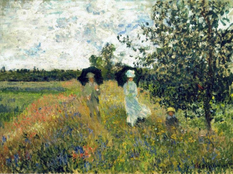 Claudia Monet The Promenade Near Argenteuil Yağlı Boya Reprodüksiyon Klasik Sanat Kanvas Tablo