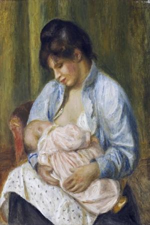 Çocuğu Emziren Kadın, Pierre Auguste Renoir, A Woman Nursing a Child-1894 Klasik Sanat Kanvas Tablo