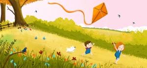 Çocuk ve Uçurtma İllustrasyon Çizim Bebek & Çocuk Dünyası Kanvas Tablo