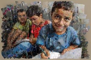 Çocuklar Mozaik İllustrasyon Kanvas Tablo