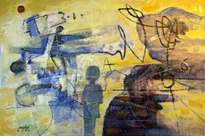 Çocukluk Abstract Yağlı Boya Sanat Kanvas Tablo