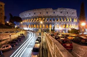 Collesseo Roma, İtalya, Akşam Manzara-12 Dünyaca Ünlü Şehirler Kanvas Tablo