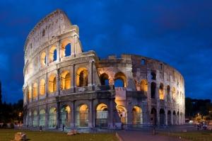 Collesseo Roma, İtalya, Akşam Manzara-16 Dünyaca Ünlü Şehirler Kanvas Tablo