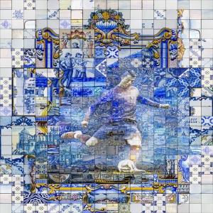 Cristiano Ronaldo-2 Mozaik İllustrasyon Kanvas Tablo