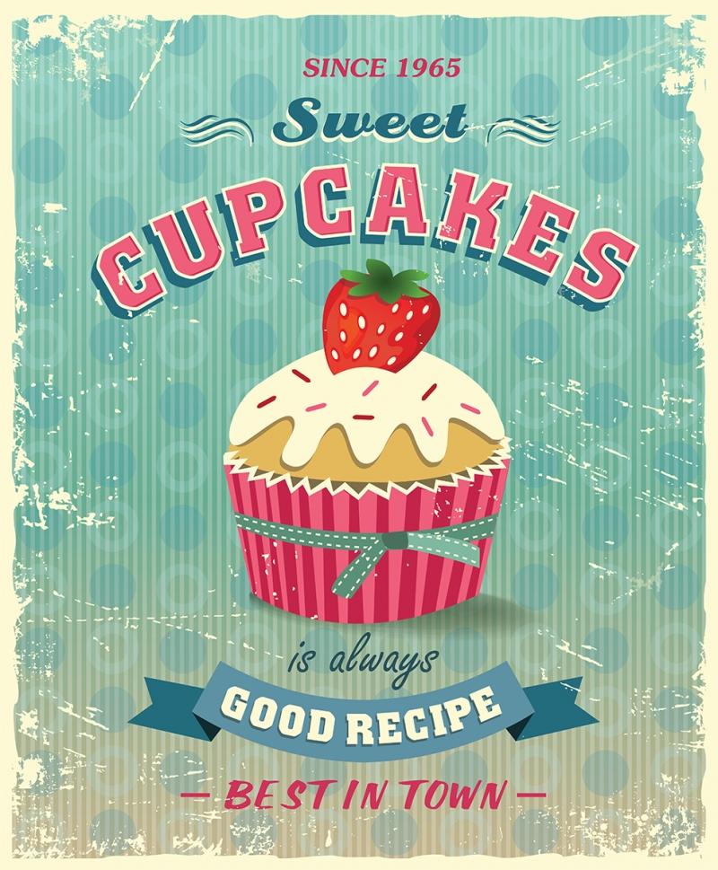 Cupcake Retro & Motto Kanvas Tablo