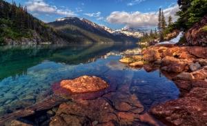 Dağ Eteğinde Irmak Doğa Manzaraları Kanvas Tablo