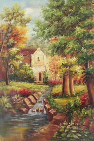 Dağ Evi 10, Su Değirmeni, Göl, Doğa Manzaraları Dekoratif Kanvas Tablo