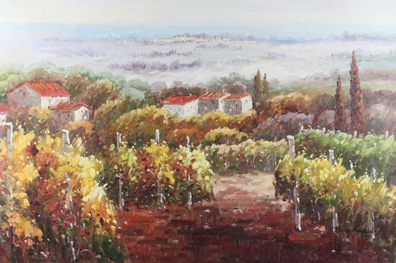 Dağ Evi 8 Meyve Bahçeleri Doğa Manzaraları Yağlı Boya Sanat Kanvas Tablo