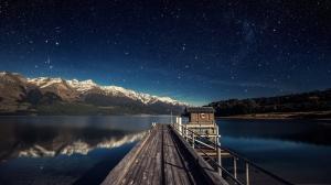 Dağ Manzarası Göl ve İskele Doğa Manzaraları Kanvas Tablo