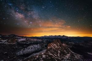Dağ Manzarası ve Yıldızlar Doğa Manzaraları Kanvas Tablo