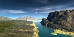 Dağ Nehir Gökyüzü Doğa Manzaraları Kanvas Tablo